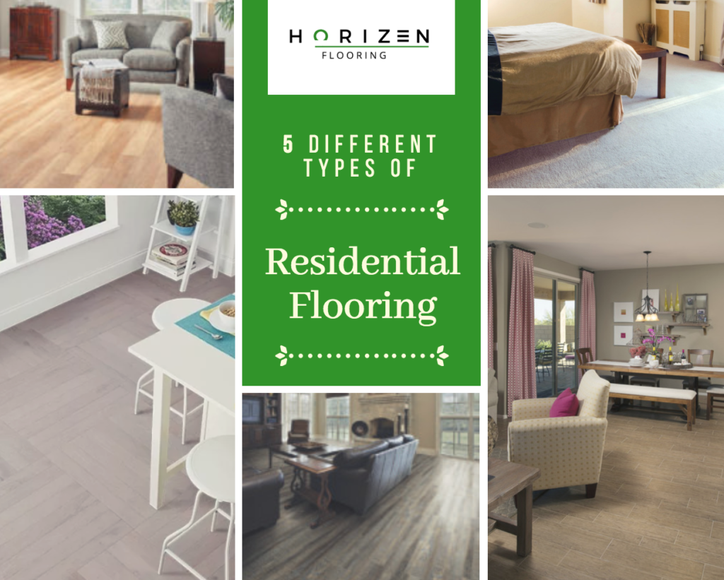 Horizen Flooring presents to you a picture collage of 5 different types of residential flooring. It consists of Hardwood, Vinyl, Laminate, Carpet, and Tile. Horizen Flooring offers full turnkey flooring services to the Greater Austin and surrounding areas, specialising but not limited to: hardwood, vinyl, laminate, carpet, and tile. For more information, call (512) 806-9434 today.