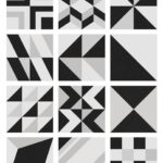 """Horizen Flooring presents to you a picture of a 9x9"""" geometric graphic pattern porcelain tile, manufactured by Emser Tile."""