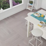 Horizen Flooring presents to you a picture of a herringbone or parquet pattern Oak hardwood flooring, manufactured by Regal Hardwoods. Color: Bryn.