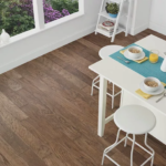 Horizen Flooring presents to you a picture of a 7-ply baltic birch core hickory hardwood flooring, manufactured by Regal Hardwoods. Color: Doeskin.