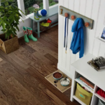 Horizen Flooring presents to you a picture of a 7-ply baltic birch core hickory hardwood flooring, manufactured by Regal Hardwoods. Color: Henna