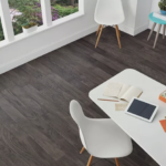 Horizen Flooring presents to you a picture of a 7-ply baltic birch core hickory hardwood flooring, manufactured by Regal Hardwoods. Color: Smoke