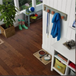 Horizen Flooring presents to you a picture of a 7-ply baltic birch core Hickory hardwood flooring, manufactured by Regal Hardwoods. Color: Cohiba