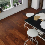 Horizen Flooring presents to you a picture of a 7-ply baltic birch core Hickory hardwood flooring, manufactured by Regal Hardwoods. Color: Cognac Reserve