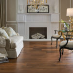 Horizen Flooring presents to you a picture of a walnut wide plank hardwood flooring, manufactured by Eagle Creek Floors. Color: Walnut Allues