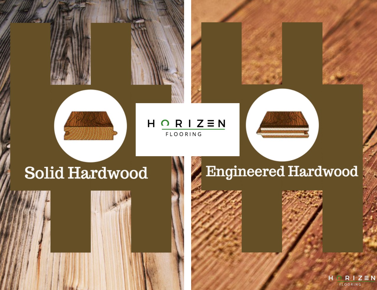 This is a picture of a solid hardwood cross section and a engineered hardwood cross section, with the Horizen Flooring company logo in between.