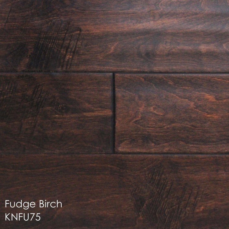"""Horizen Flooring presents to you a picture of a 5"""" wide birch hardwood flooring, manufactured by Knoas Flooring. Color: Fudge Birch"""