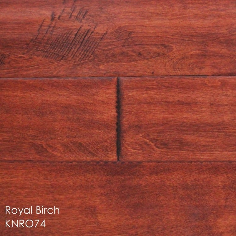 """Horizen Flooring presents to you a picture of a 5"""" wide birch hardwood flooring, manufactured by Knoas Flooring. Color: Royal Birch"""