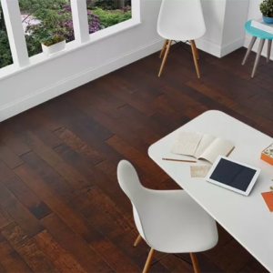 Horizen Flooring presents to you a picture of a 7-ply baltic birch core Maple hardwood flooring, manufactured by Regal Hardwoods. Color: Vinto Tinto.