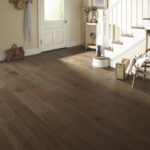 Horizen Flooring presents to you a picture of a hickory wide plank hardwood flooring, manufactured by Eagle Creek Floors. Color: Hickory Coffee