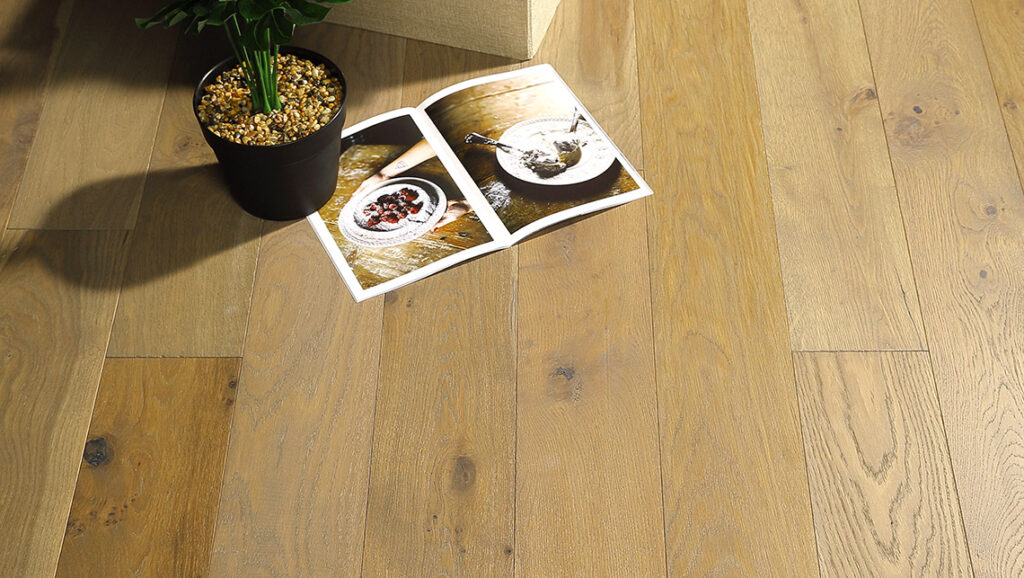 "Horizen Flooring presents to you a picture of a quality 6"" wide plank French Oak hardwood flooring, manufactured by Aayers Flooring. Color: Locust. Incorporated in Kent Washington in 2012, AAYERS Flooring has been producing quality lumbers and world class floorings since 2000 through its Holding company. AAYERS Flooring inherited expertise in producing stylish and quality solid and engineered hardwood floors, and all of its our products have been very well accepted in the market. Taking pride in using quality materials, state-of-the-art equipment and exacting safety and quality control measures to ensure that every customer receives the highest quality product, AAYERS Flooring is committed to redefining the look of floors and beautifying interior spaces, offering product value, sustainable flooring solutions and incredible style options."