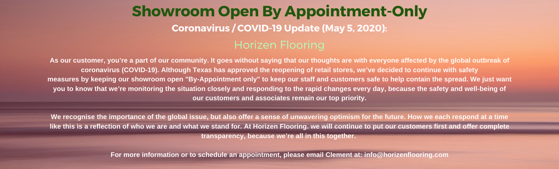 "Horizen Flooring Company Website Homepage describing Horizen Flooring showroom on North Lamar will be temporarily open ""By Appointment-only"" until further notice in response to COVID-19. For more information call 512-806-9434"